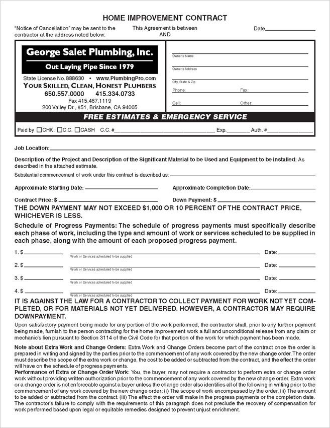 Custom Printed 3 set California Home Improvement Contract