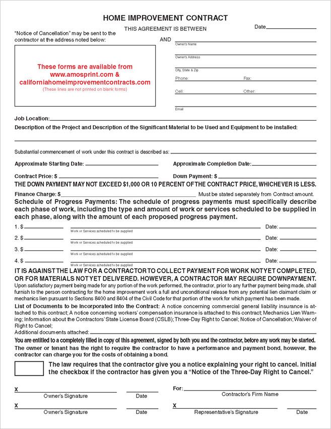 Ready-to-Use Printed California Home Improvement Contract