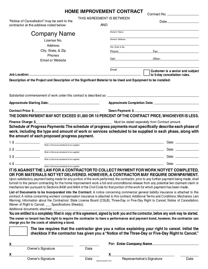 Ready-to-Use PDF California Home Improvement Contract